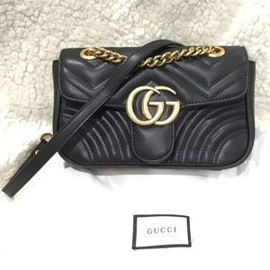 GG Marmont matelassé shoulder Bag Black New Gucci